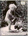 Printed Card - Finished photographic calendar. Image depicts a naked young child pouring water from a watering can onto a puppy.